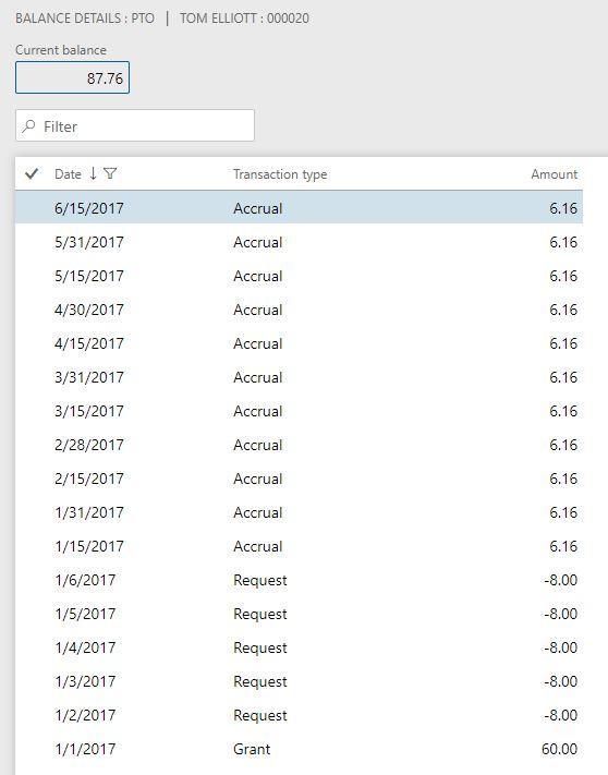 Bank transaction table screenshot