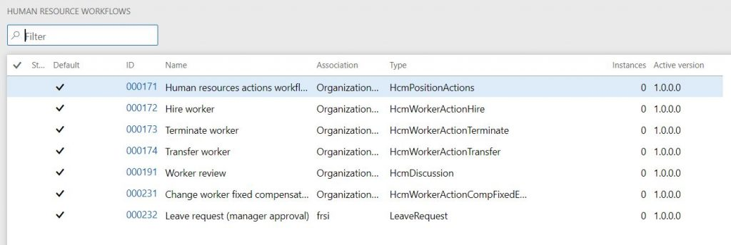Workflow list screenshot