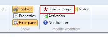 Basic settings button