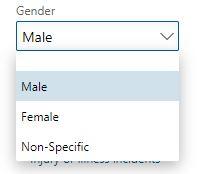 Gender drop down list